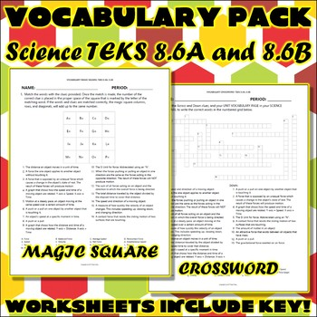 Vocabulary Pack for Eighth Grade Science TEKS Unit 4