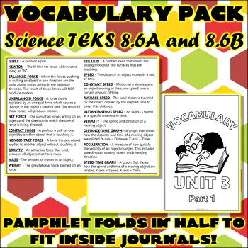 Vocabulary Pack for Eighth Grade Science TEKS Unit 3 Part 1