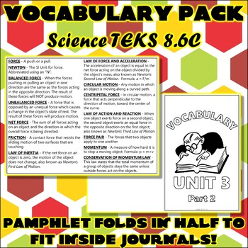 Vocabulary Pack for Eighth Grade Science TEKS Unit 5