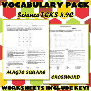 Vocabulary Pack for Eighth Grade Science TEKS Unit 5 Part 1