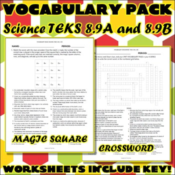 Vocabulary Pack for Eighth Grade Science TEKS Unit 6 Part 2