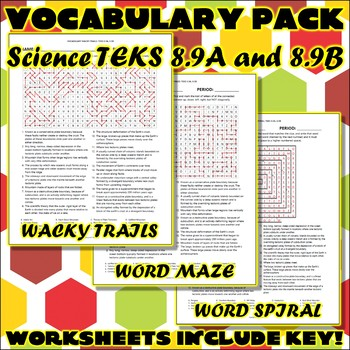 Vocabulary Pack for Eighth Grade Science TEKS Unit 5 Part 2