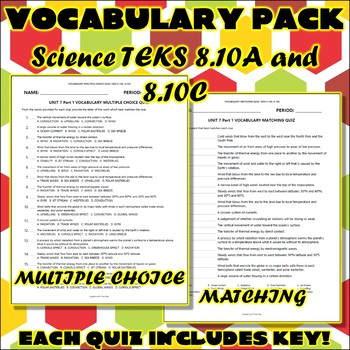 Vocabulary Pack for Eighth Grade Science TEKS Unit 7 Part 1
