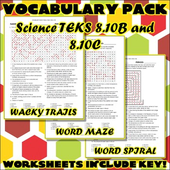 Vocabulary Pack for Eighth Grade Science TEKS Unit 4 Part 2