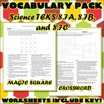 Vocabulary Pack for Eighth Grade Science TEKS Unit 8