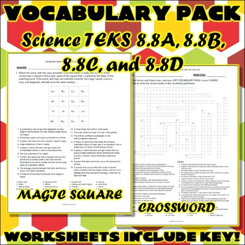 Vocabulary Pack for Eighth Grade Science TEKS Unit 9 & 10