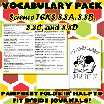 Vocabulary Pack for Eighth Grade Science TEKS Unit 7