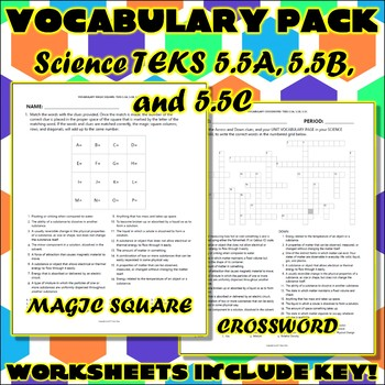 Vocabulary Pack for Fifth Grade Science TEKS Unit 1