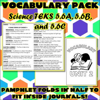 Vocabulary Pack for Fifth Grade Science TEKS Unit 2
