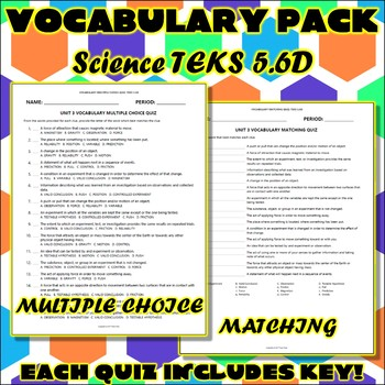 Vocabulary Pack for Fifth Grade Science TEKS Unit 3