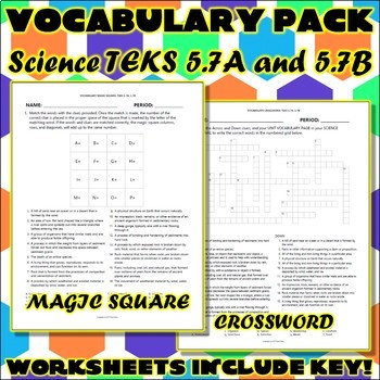 Vocabulary Pack for Fifth Grade Science TEKS Unit 4