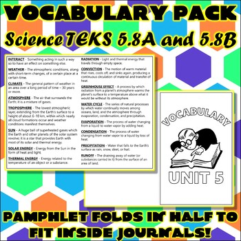 Vocabulary Pack for Fifth Grade Science TEKS Unit 5
