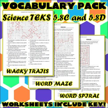 Vocabulary Pack for Fifth Grade Science TEKS Unit 6