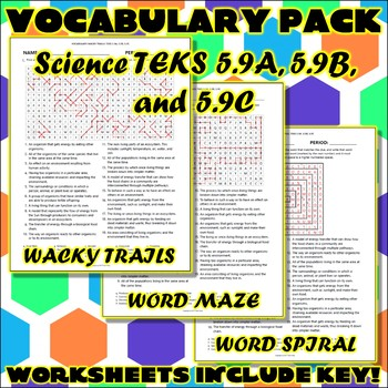 Vocabulary Pack for Fifth Grade Science TEKS Unit 7
