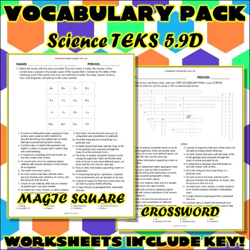 Vocabulary Pack for Fifth Grade Science TEKS Unit 9