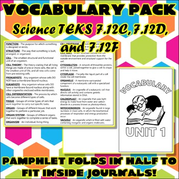 Vocabulary Pack for Seventh Grade Science TEKS Unit 1