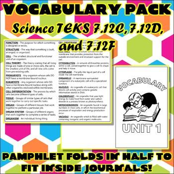 Vocabulary Pack for Seventh Grade Science TEKS Unit 1