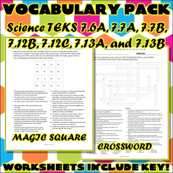 Vocabulary Pack for Seventh Grade Science TEKS Unit 2