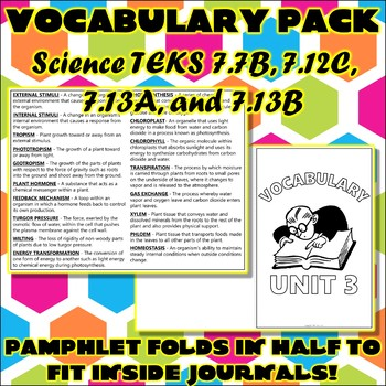 Vocabulary Pack for Seventh Grade Science TEKS Unit 3