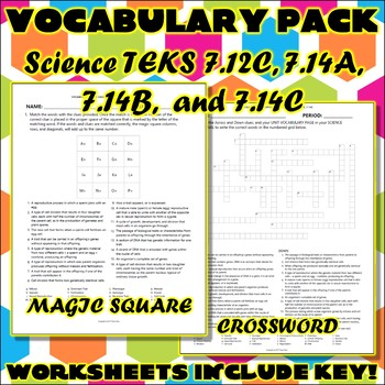 Vocabulary Pack for Seventh Grade Science TEKS Unit 4