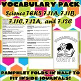Vocabulary Pack for Seventh Grade Science TEKS Unit 5