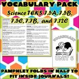 Vocabulary Pack for Seventh Grade Science TEKS Unit 6