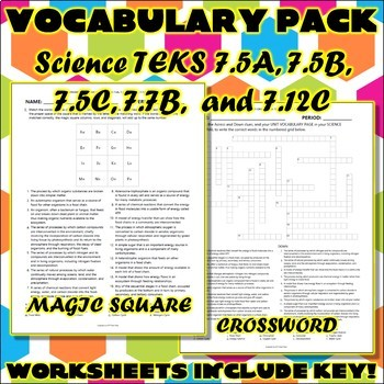 Vocabulary Pack for Seventh Grade Science TEKS Unit 6