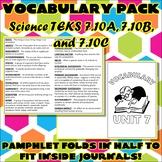 Vocabulary Pack for Seventh Grade Science TEKS Unit 7