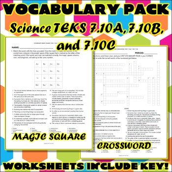 Vocabulary Pack for Seventh Grade Science TEKS Unit 7