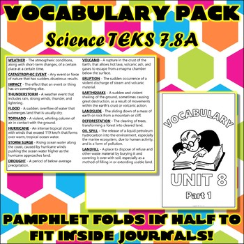 7th grade science teks teaching resources teachers pay teachers vocabulary pack for seventh grade science teks unit 8 part 1 sciox Images