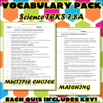 Vocabulary Pack for Seventh Grade Science TEKS Unit 8 Part 1