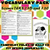 Vocabulary Pack for Seventh Grade Science TEKS Unit 8 Part 2