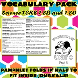 Vocabulary Pack for Seventh Grade Science TEKS Unit 8 Part 2
