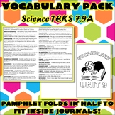 Vocabulary Pack for Seventh Grade Science TEKS Unit 9