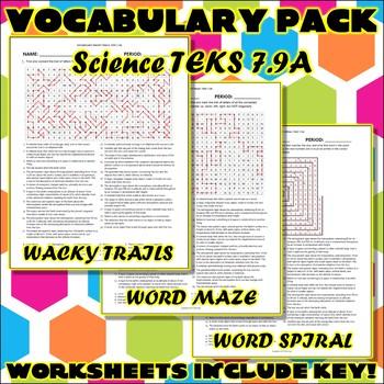 Vocabulary Pack for Seventh Grade Science TEKS Unit 9