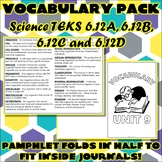 Vocabulary Pack for Sixth Grade Science TEKS Unit 9