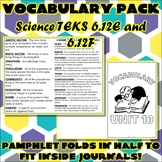 Vocabulary Pack for Sixth Grade Science TEKS Unit 10