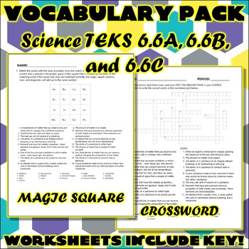 Vocabulary Pack for Sixth Grade Science TEKS Unit 2