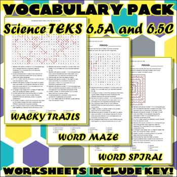 Vocabulary Pack for Sixth Grade Science TEKS Unit 3 & 4