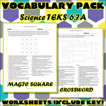 Vocabulary Pack for Sixth Grade Science TEKS Unit 4 Part 1