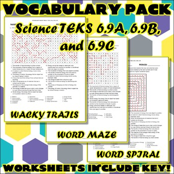 Vocabulary Pack for Sixth Grade Science TEKS Unit 6