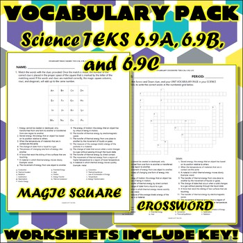 Vocabulary Pack for Sixth Grade Science TEKS Unit 4 Part 2 and Unit 5