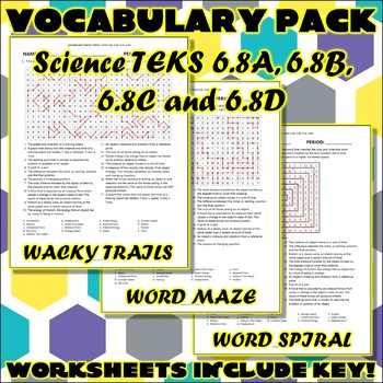 Vocabulary Pack for Sixth Grade Science TEKS Unit 7