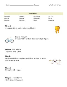 Vocabulary Packet- Words with bi