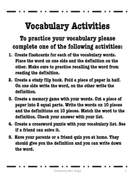 Vocabulary Packets with Quizzes and Activities
