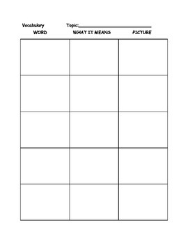 Vocabulary Page for any words