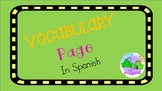 Vocabulary Page in Spanish