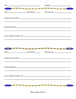 Vocabulary Pages for Novel Study