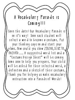 Vocabulary Parade Forms