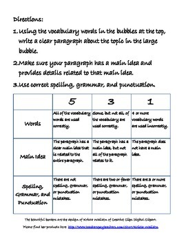 Vocabulary Paragraph Activity